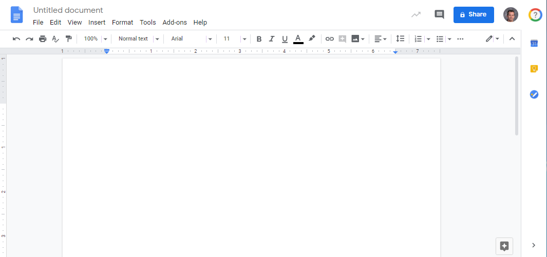Picture of a blank document in Google Docs