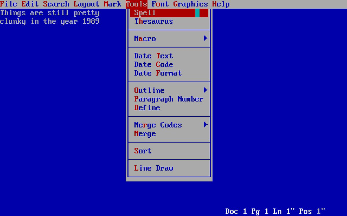 Picture of WordPerfect 5.1 screen circa 1989