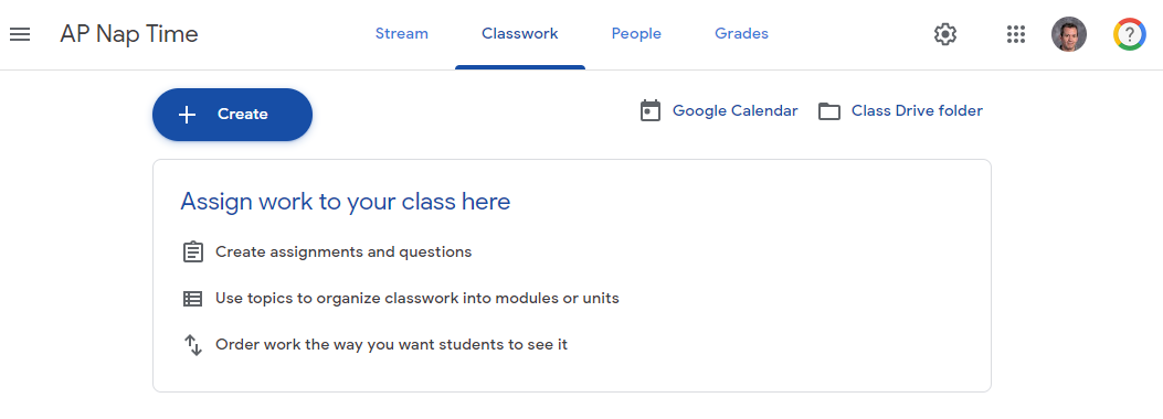 Picture of Classroom tabs with Classwork tab selected