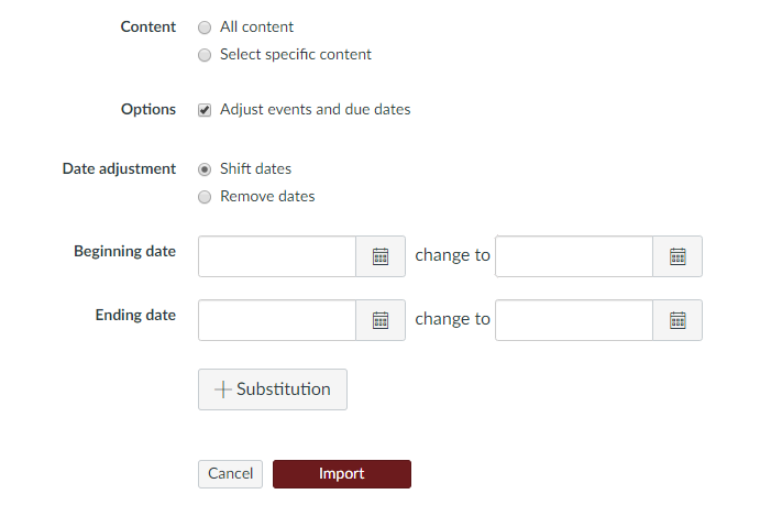 Picture showing Import Content options in Canvas, including selections for all content or specific content, and the option to adjust course dates
