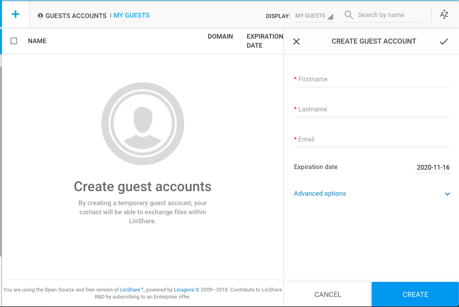 guest account creation screen in securedoc