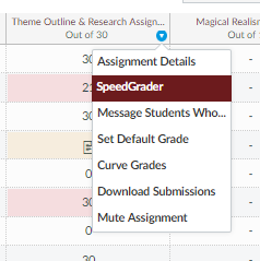 Picture of assignment context menu with SpeedGrader link highlighted