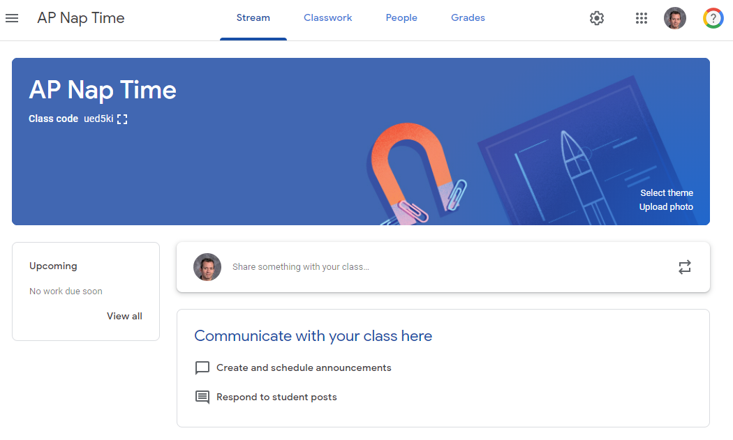 Picture of Google Classroom course with the Stream tab selected